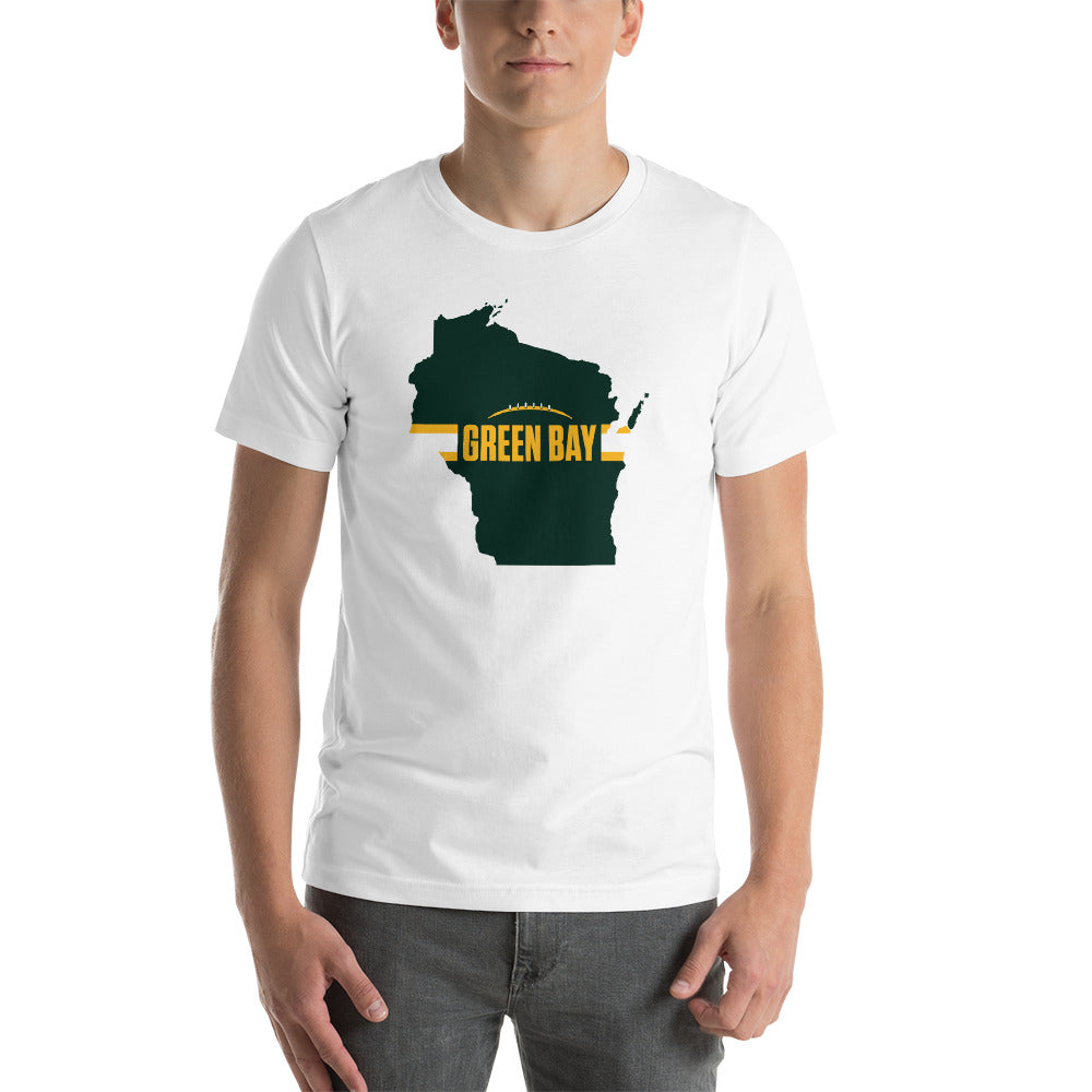 Load image into Gallery viewer, Green Bay Football Wisconsin Outline Short-Sleeve Unisex T-Shirt (Green Design)