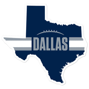 Dallas Football Texas Outline Sticker (Blue Design)