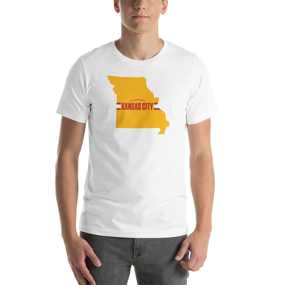 Kansas City Football Missouri Outline Short-Sleeve Unisex White T-Shirt - Yellow Design