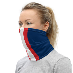 New England Patriots Style Neck Gaiter as Face Mask on Woman Left