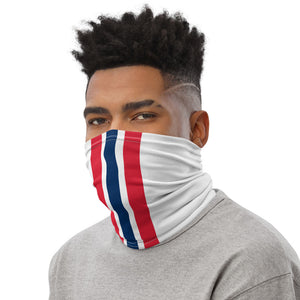 New England Patriots Style Neck Gaiter as Face Mask on Man Left