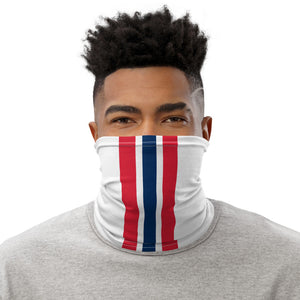 New England Patriots Style Neck Gaiter as Face Mask on Man
