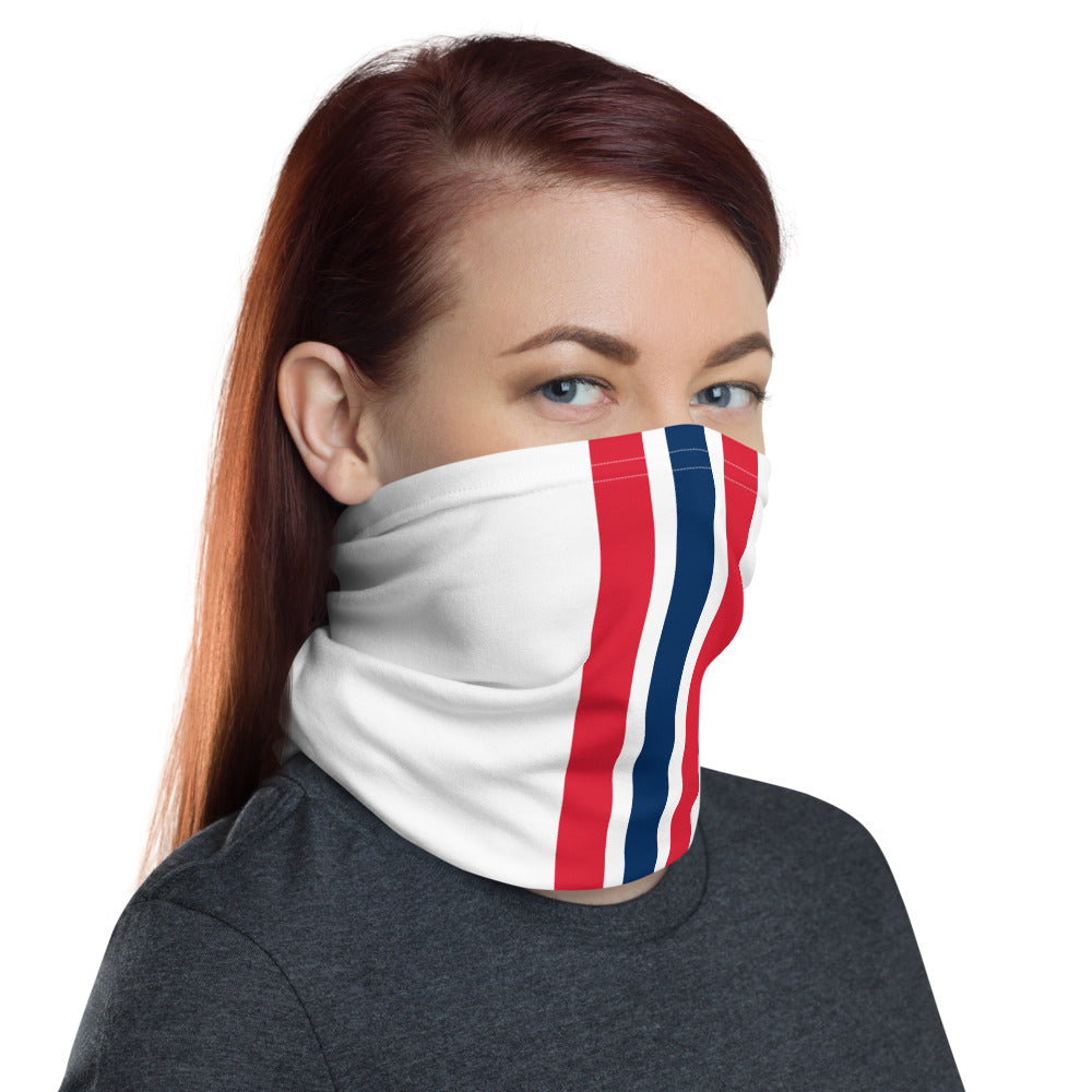 New England Patriots Style Neck Gaiter as Face Mask on Woman Right