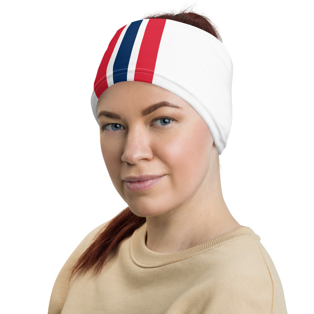 New England Patriots Style Neck Gaiter as Head Band on Woman Left