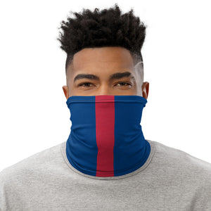 New York Giants Style Neck Gaiter as Face Mask on Man