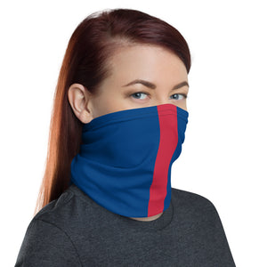 New York Giants Style Neck Gaiter as Face Mask on Woman Right