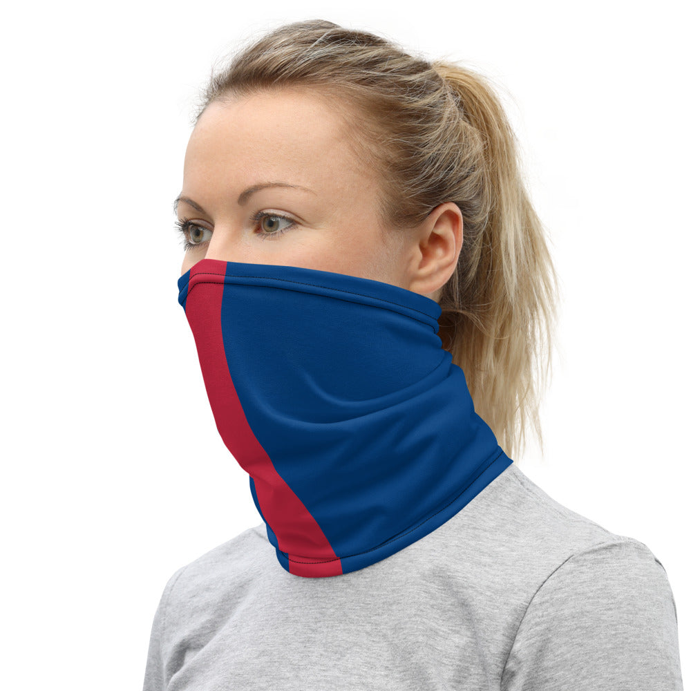 New York Giants Style Neck Gaiter as Face Mask on Woman Left
