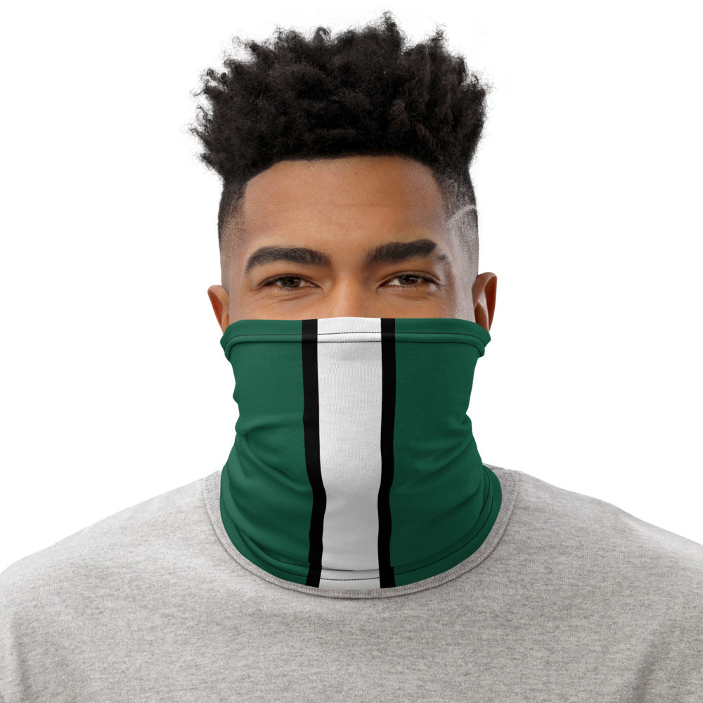New York Jets Style Neck Gaiter as Face Mask on Man