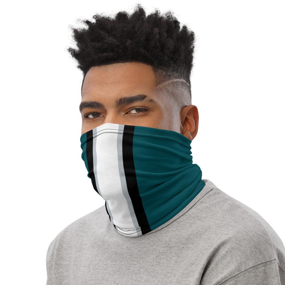 Philadelphia Eagles Style Neck Gaiter as Face Mask on Man Left