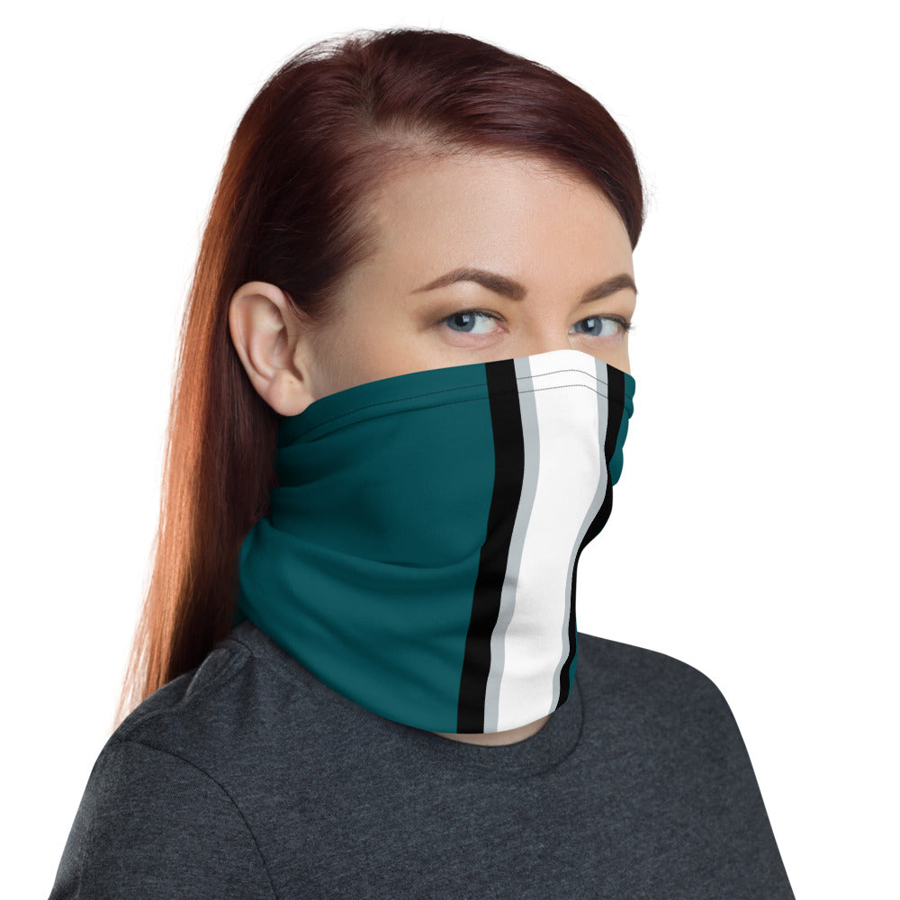 Philadelphia Eagles Style Neck Gaiter as Face Mask on Woman Right