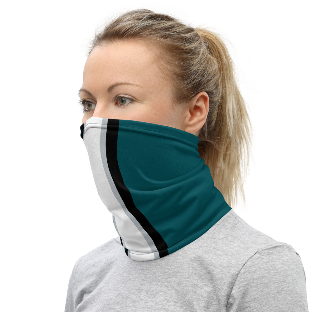Philadelphia Eagles Style Neck Gaiter as Face Mask on Woman Left