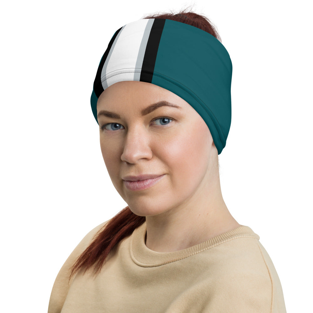 Philadelphia Eagles Style Neck Gaiter as Head Band on Woman Left