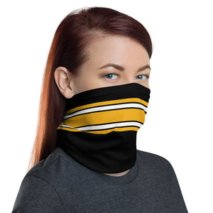 Pittsburgh Steelers Style Neck Gaiter as Face Mask on Woman Right