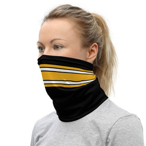Pittsburgh Steelers Style Neck Gaiter as Face Mask on Woman Left
