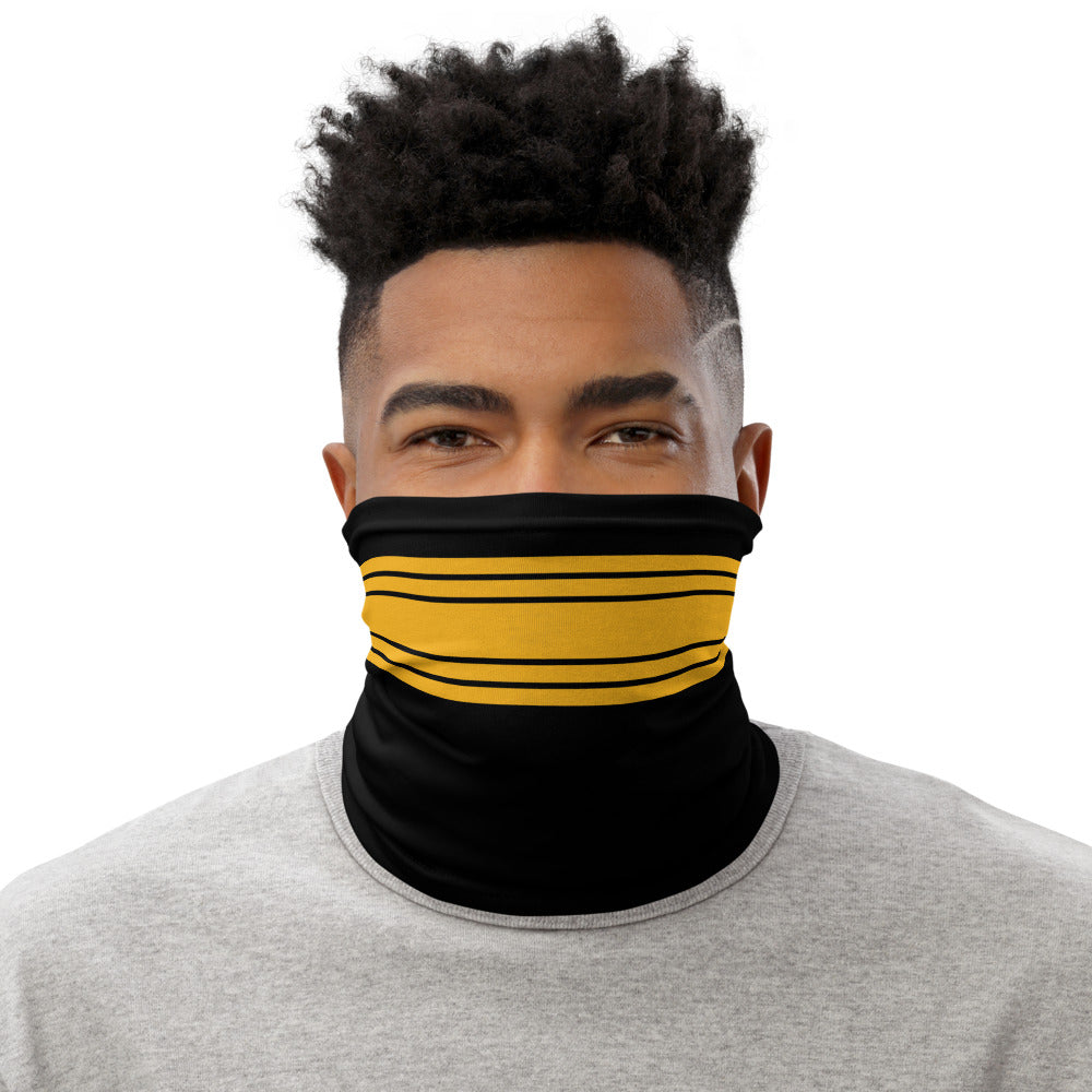 Pittsburgh Steelers Style Neck Gaiter as Face Mask on Man