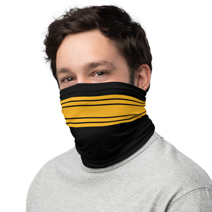 Pittsburgh Steelers Style Neck Gaiter as Face Mask on Man Left