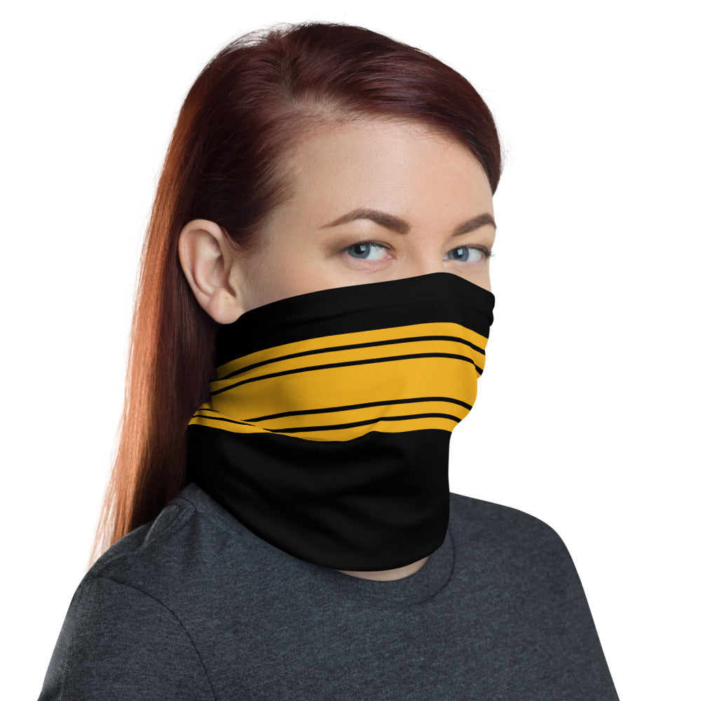 Pittsburgh Steelers Style Neck Gaiter as Face Mack on Woman Right
