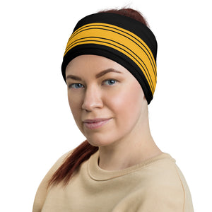 Pittsburgh Steelers Style Neck Gaiter as Head Band on Woman Left