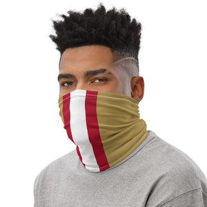 San Francisco 49ers Style Neck Gaiter as Face Mask on Man Left