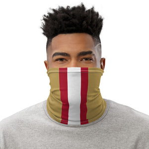 San Francisco 49ers Style Neck Gaiter as Face Mask on Man