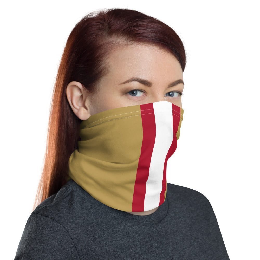 San Francisco 49ers Style Neck Gaiter as Face Mask on Woman Right