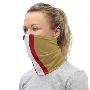San Francisco 49ers Style Neck Gaiter as Face Mask on Woman Left