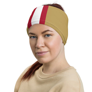 San Francisco 49ers Style Neck Gaiter as Head Band on Woman Left