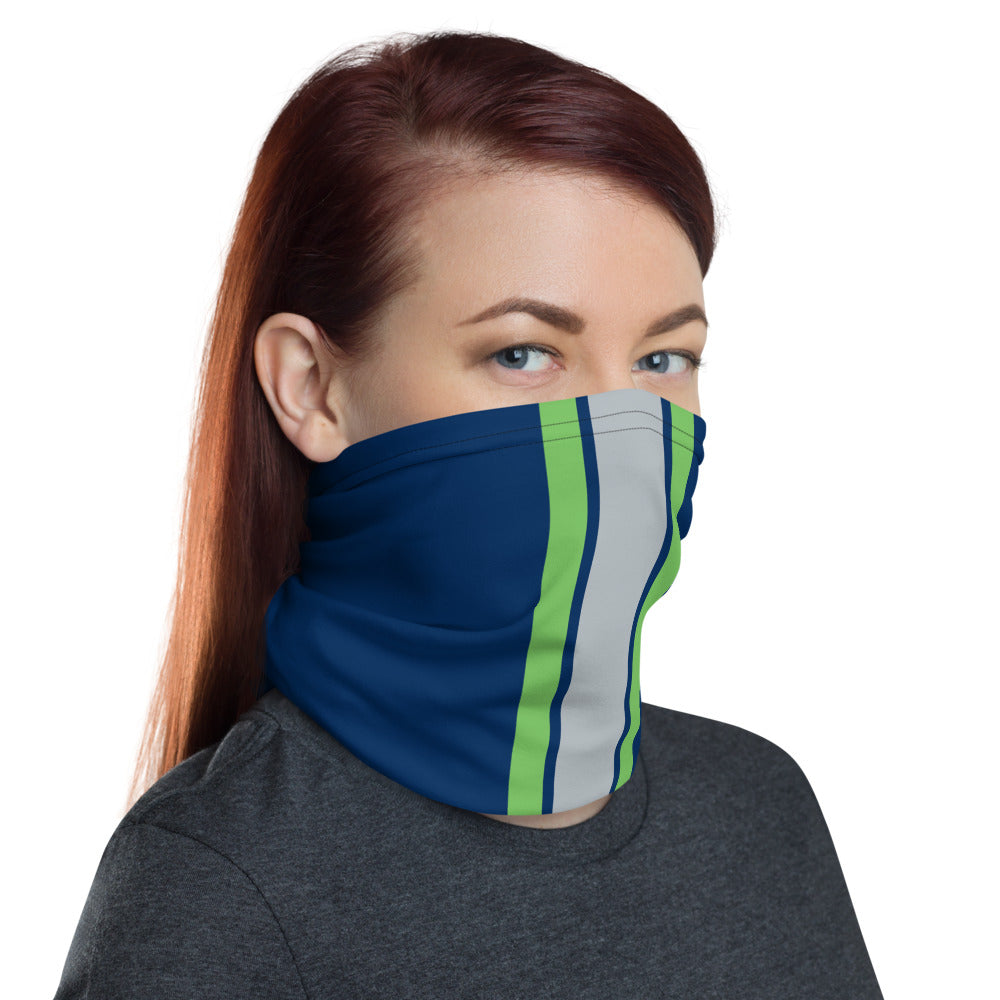 Seattle Seahawks Style Neck Gaiter as Face Mask on Woman Right