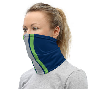 Seattle Seahawks Style Neck Gaiter as Face Mask on Woman Left