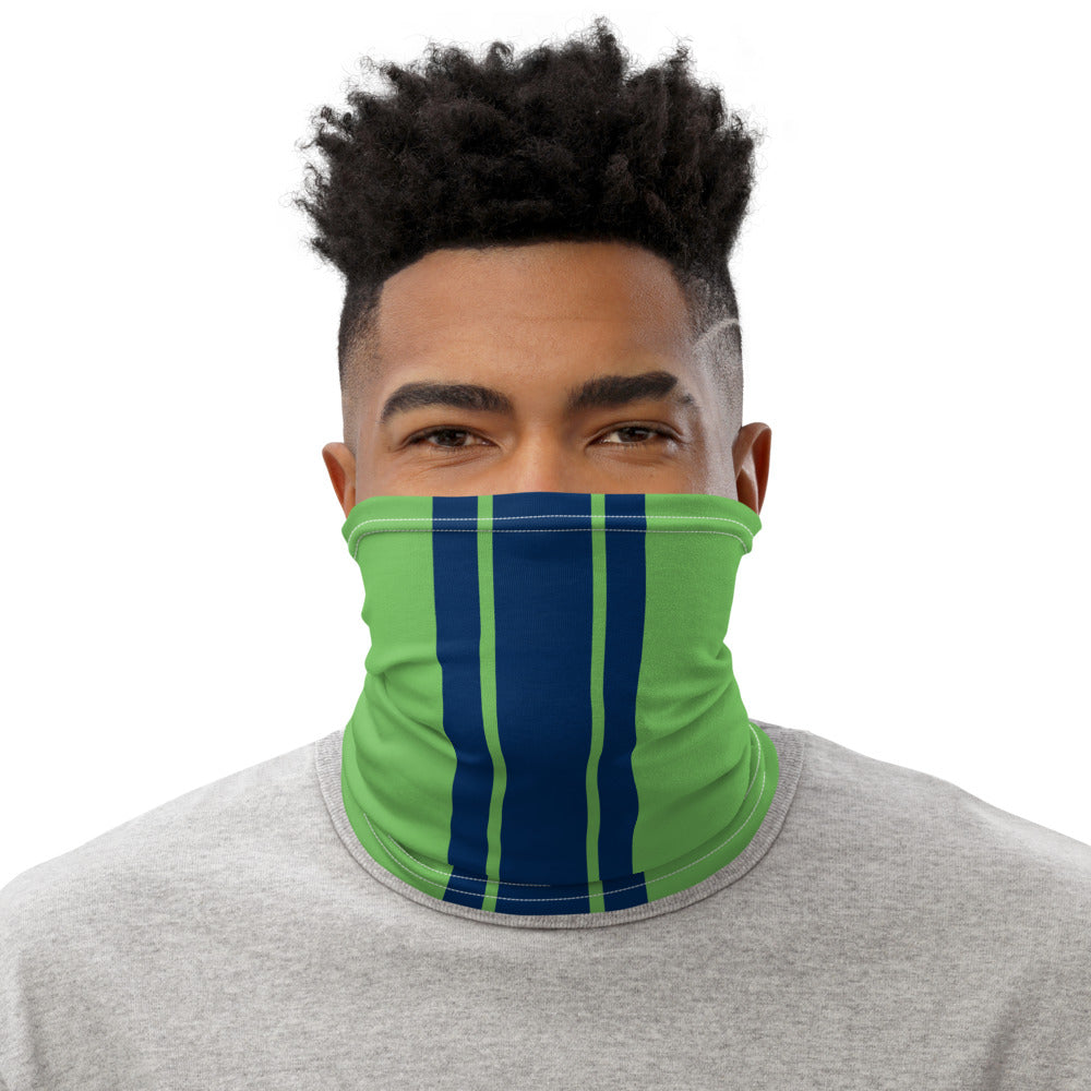 Seattle Seahawks Style Neck Gaiter as Face Mask on Man