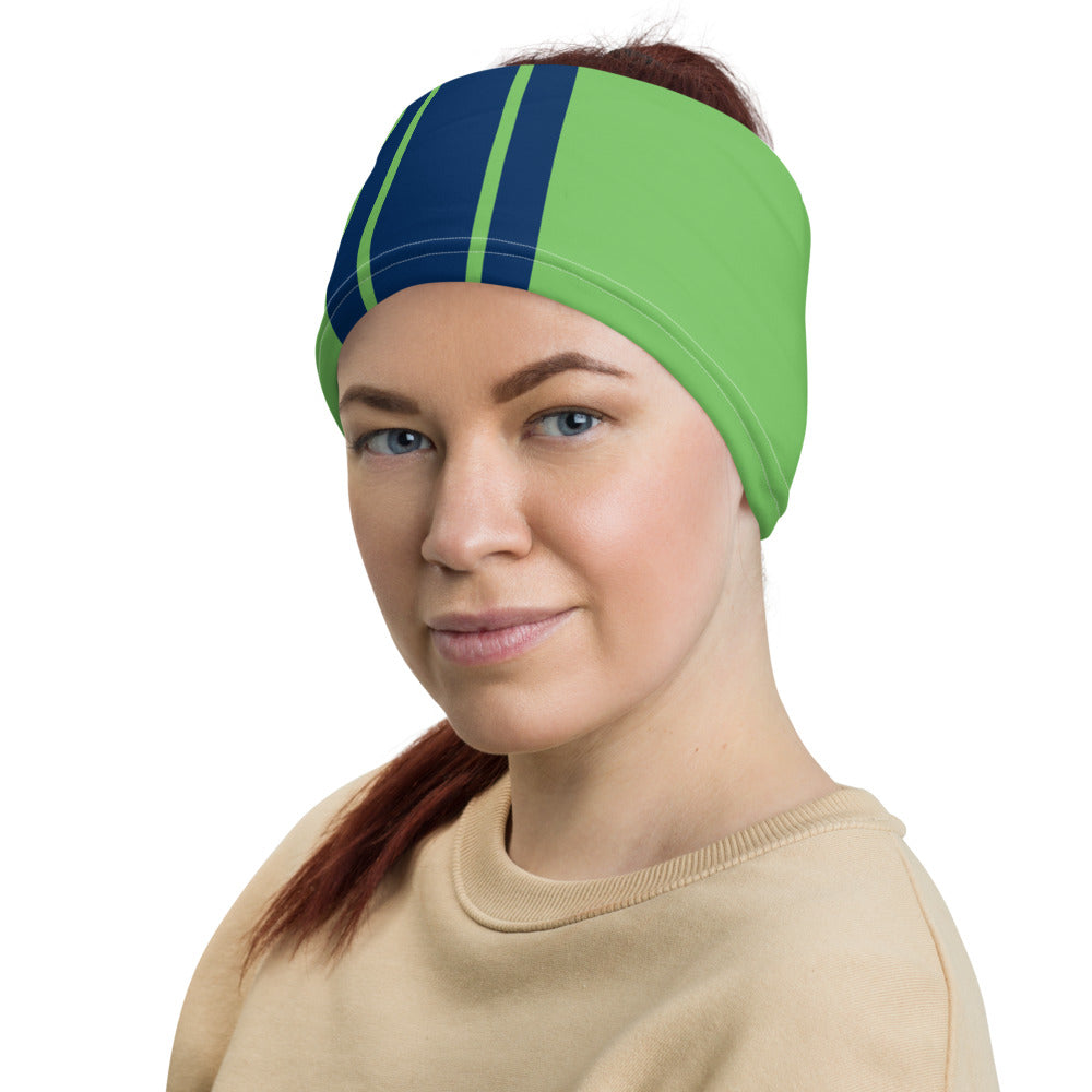 Seattle Seahawks Style Neck Gaiter as Head Band on Woman Left