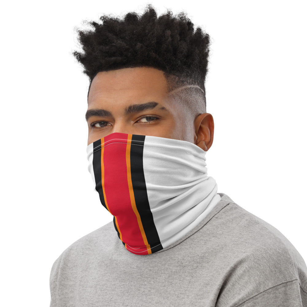 Tampa Bay Buccaneers Style Neck Gaiter as Face Mask on Man Left