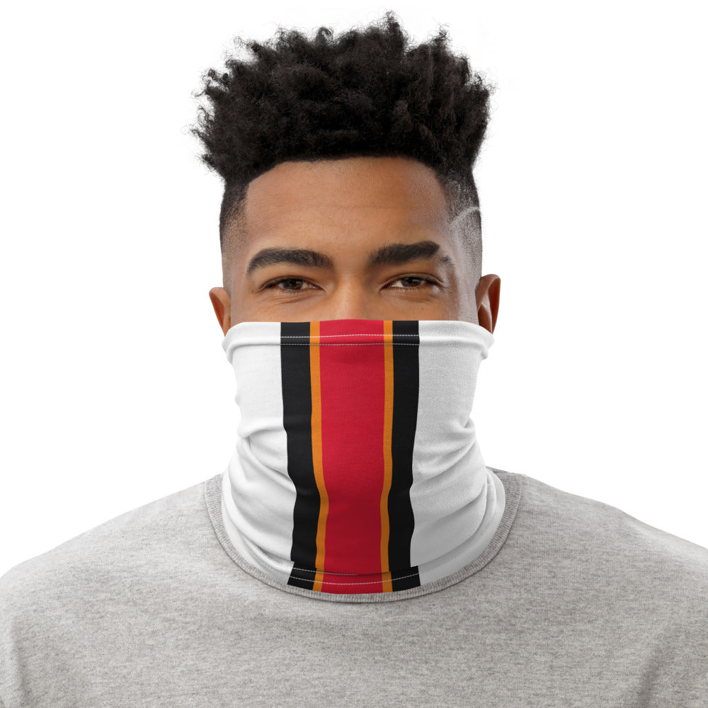 Tampa Bay Buccaneers Style Neck Gaiter as Face Mask on Man