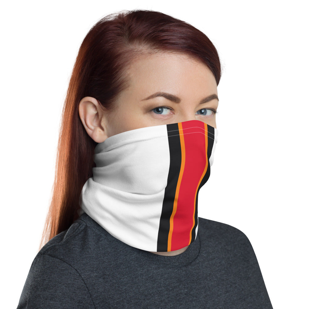 Tampa Bay Buccaneers Style Neck Gaiter as Face Mask on Woman Right