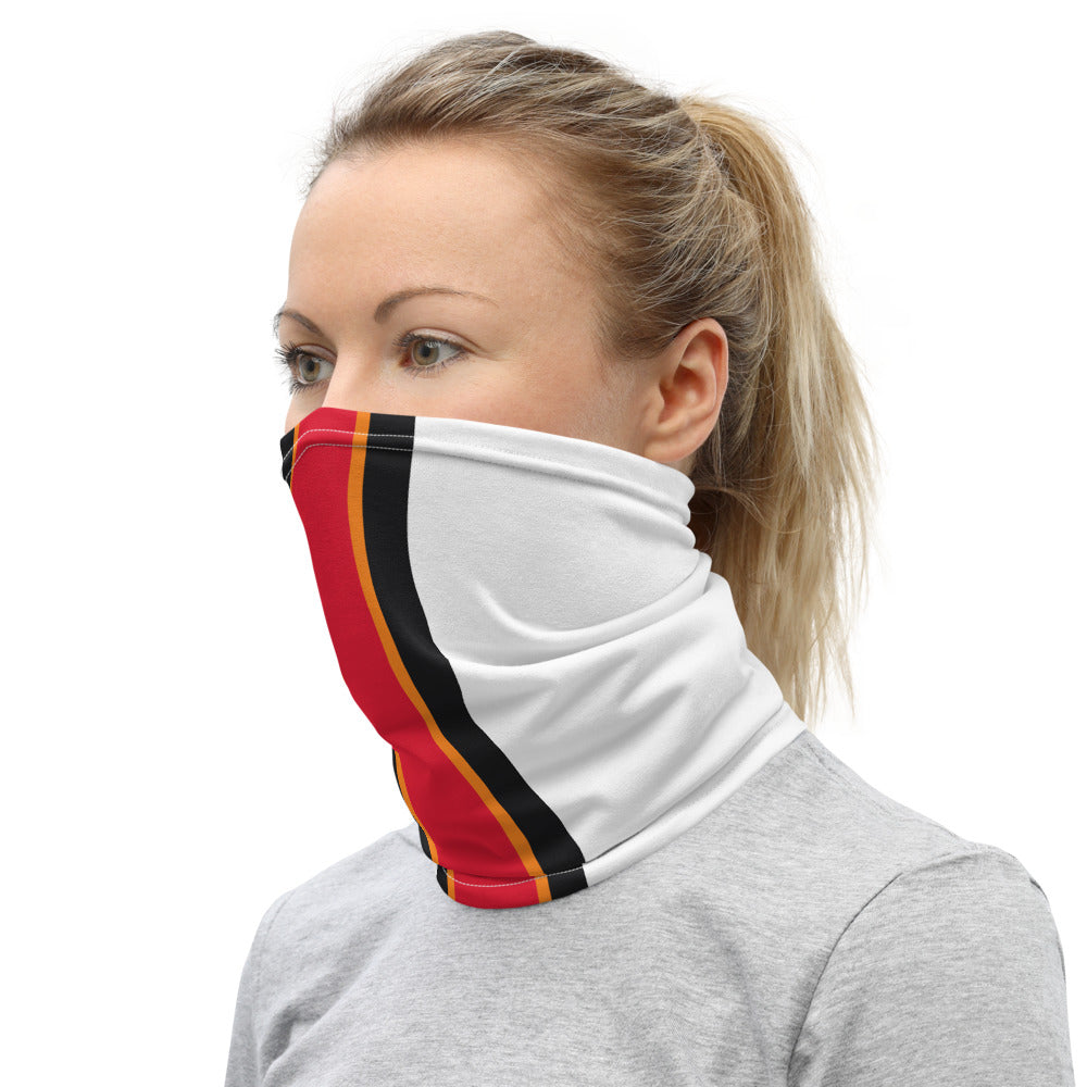 Tampa Bay Buccaneers Style Neck Gaiter as Face Mask on Woman Left