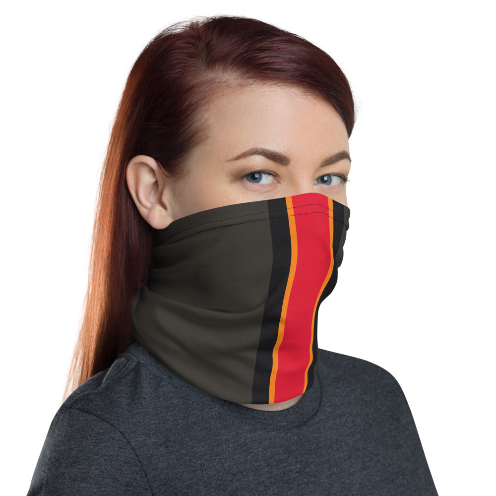 Load image into Gallery viewer, Tampa Bay Buccaneers Style Neck Gaiter as Face Mask on Woman Right