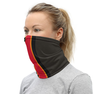 Load image into Gallery viewer, Tampa Bay Buccaneers Style Neck Gaiter as Face Mask on Woman Left