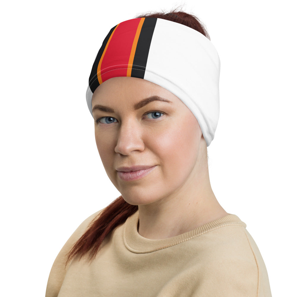 Tampa Bay Buccaneers Style Neck Gaiter as Head Band on Woman Left