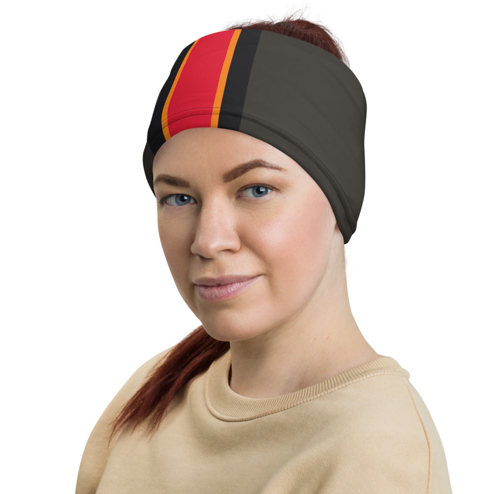 Load image into Gallery viewer, Tampa Bay Buccaneers Style Neck Gaiter as Head Band on Woman Left