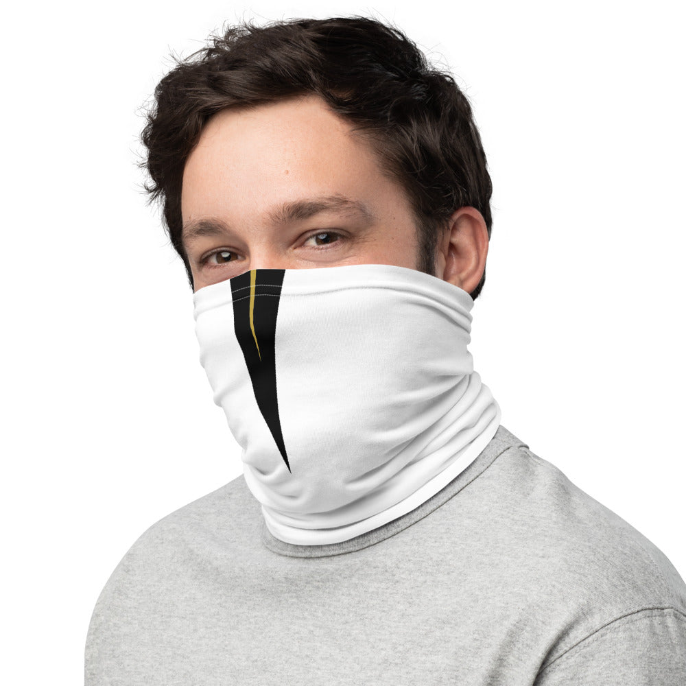 UCF Knights Style Neck Gaiter as Face Mask on Man Left