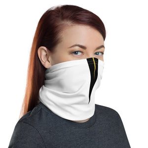 UCF Knights Style Neck Gaiter as Face Mask on Woman Right