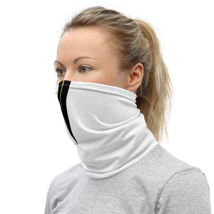 UCF Knights Style Neck Gaiter as Face Mask on Woman Left