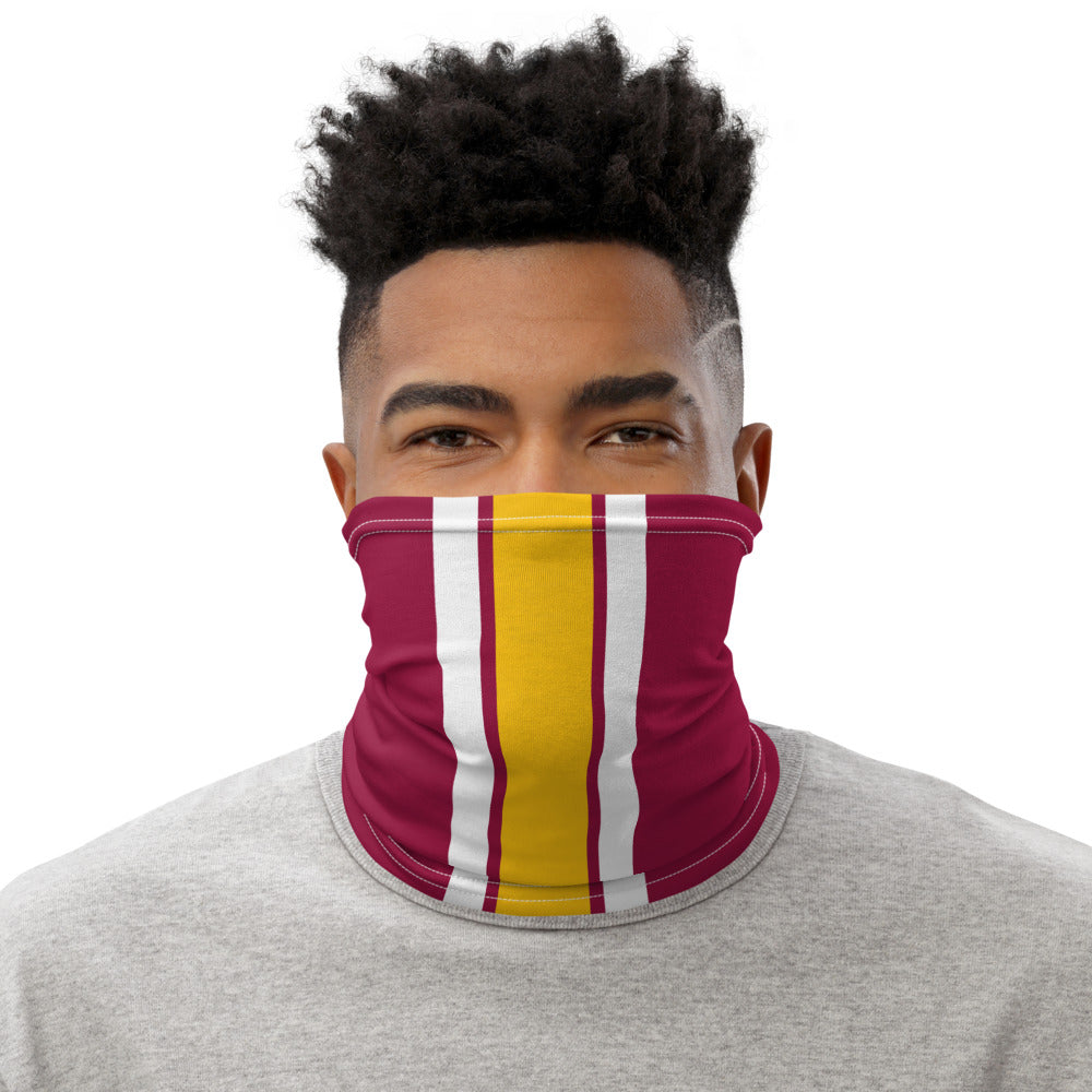 Washington Football Team Style Neck Gaiter as Face Mask on Man