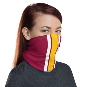 Washington Football Team Style Neck Gaiter as Face Mask on Woman Right