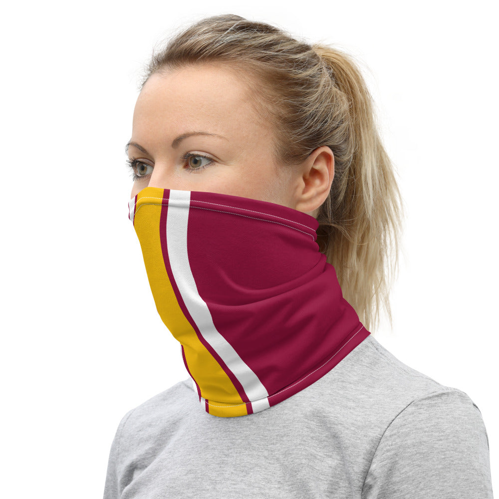 Washington Football Team Style Neck Gaiter as Face Mask on Woman Left