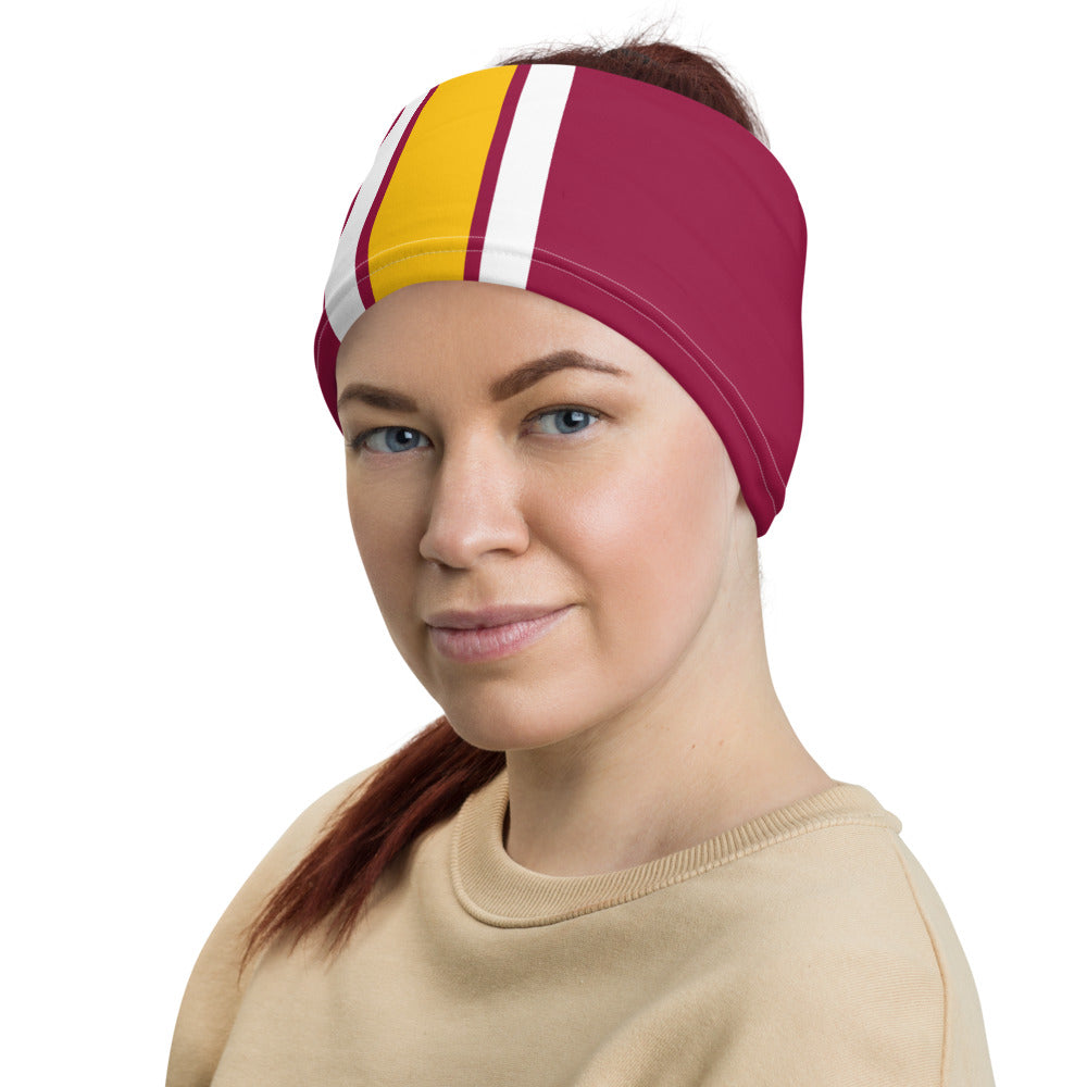 Load image into Gallery viewer, Washington Football Team Style Neck Gaiter as Head Band on Woman Left