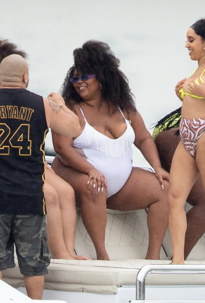 Lizzo wears white plus size swimsuit!