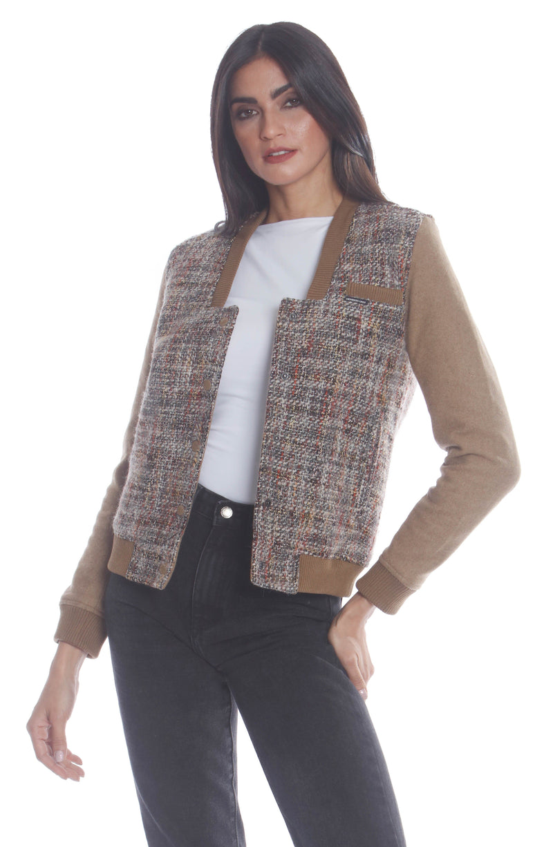 Clearance -Women's Updated Tweed Varsity Jacket with Contrast Sleeve Womens Jacket Members Only Official CAMEL Large