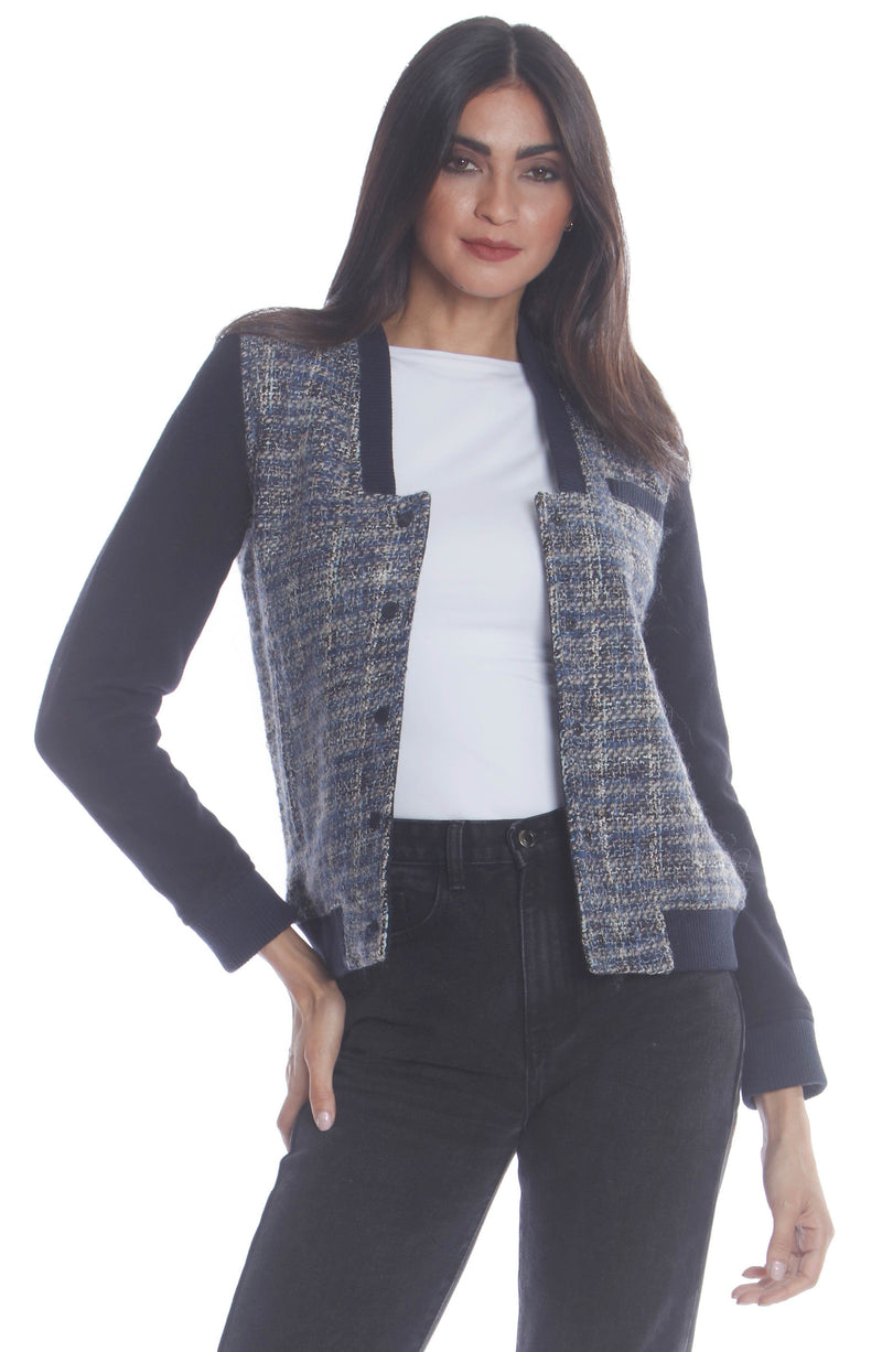 Clearance -Women's Updated Tweed Varsity Jacket with Contrast Sleeve Womens Jacket Members Only Official NAVY Large
