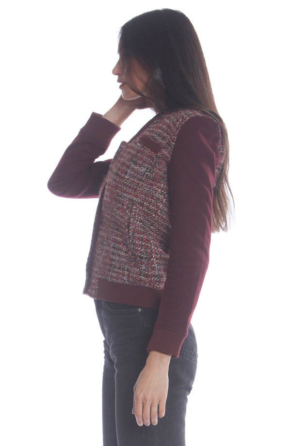 Clearance -Women's Updated Tweed Varsity Jacket with Contrast Sleeve Womens Jacket Members Only Official